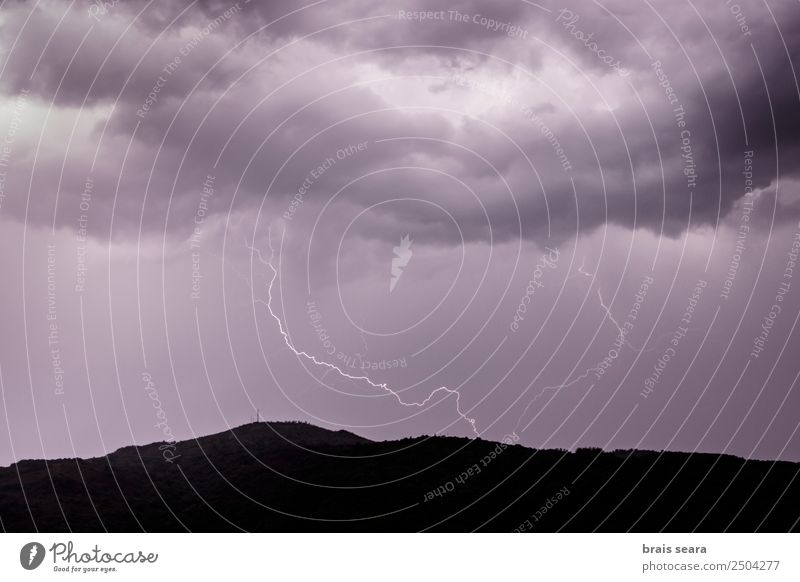 Lightning strike during a thunderstorm. Education Science & Research Environment Nature Elements Earth Sky Clouds Storm clouds Night sky Climate Climate change