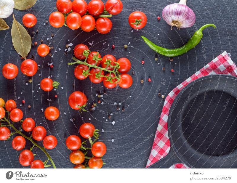 fresh ripe red cherry tomatoes Vegetable Herbs and spices Nutrition Lunch Vegetarian diet Pan Summer Table Kitchen Eating Fresh Small Natural Above Green Red