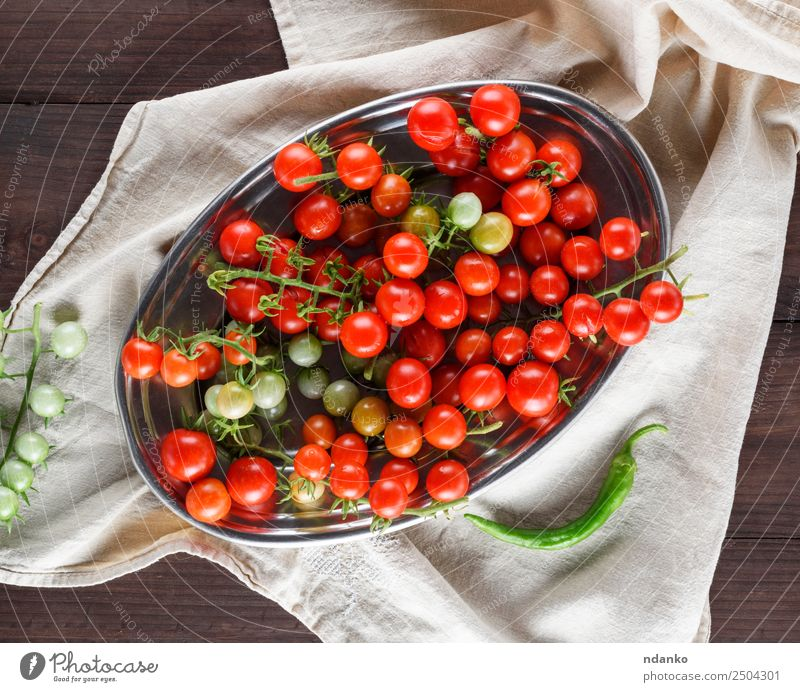 ripe red cherry tomatoes Vegetable Vegetarian diet Plate Summer Kitchen Wood Fresh Small Natural Green Red Cherry Tomato food healthy Ingredients Organic Raw