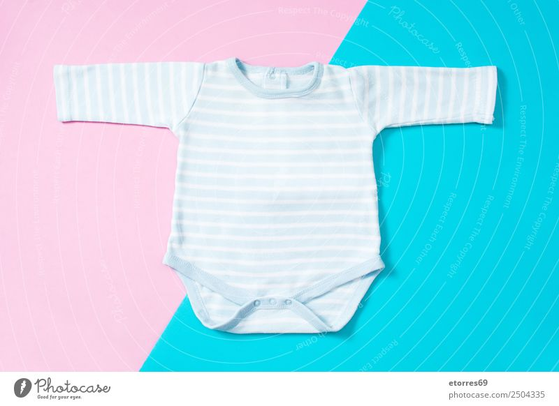 Blue and white striped baby romper Fashion Cloth Pink White Baby Child Striped Mock-up Newborn Cotton Colour photo Multicoloured Studio shot Bird's-eye view