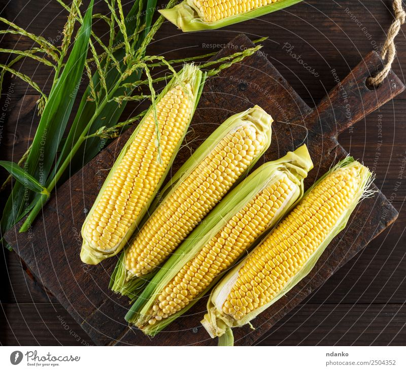 fresh ripe corn cobs Vegetable Nutrition Vegetarian diet Summer Table Nature Leaf Wood Old Eating Fresh Natural Above Brown Yellow Green background healthy