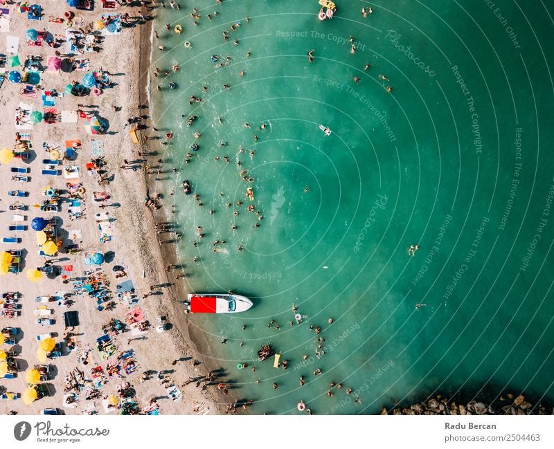 Aerial Drone View Of People Having Fun And Relaxing On Costinesti Beach In Romania At The Black Sea Aircraft Vantage point Sand Background picture Water Above