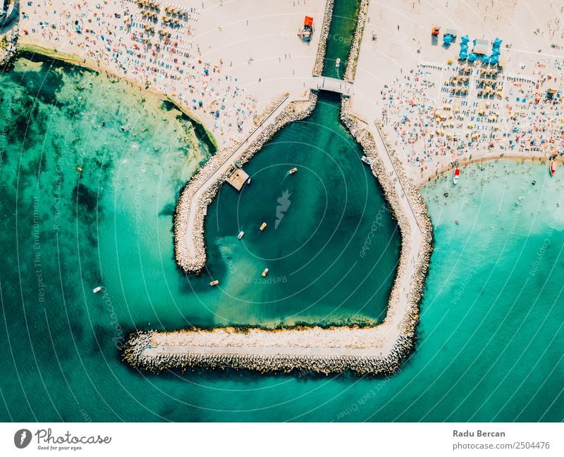 Aerial Drone View Of Concrete Pier On Turquoise Water At The Black Sea Resort Costinesti In Romania Ocean Rock Beach Break water Background picture Blue Stone