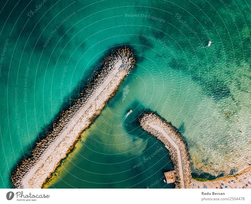Aerial Drone View Of Concrete Pier On Turquoise Water At The Black Sea Ocean Rock Beach Break water Background picture Blue Stone Nature Vacation & Travel