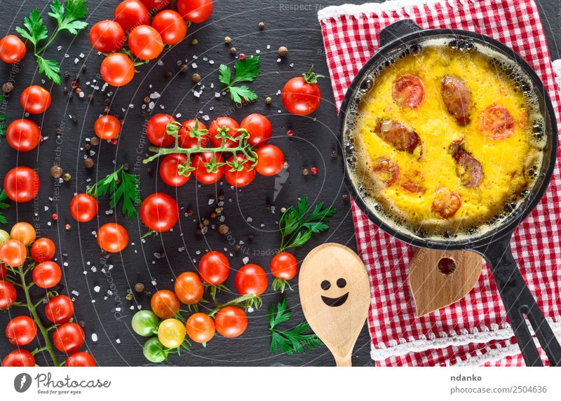 frying pan with fried omelette Vegetable Breakfast Lunch Dinner Pan Spoon Table Eating Fresh Above Yellow Green Red Tradition Omelette Scrambled eggs Tomato