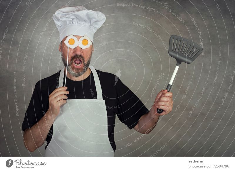 funny man with fried eggs in his eyes Human being Youth (Young adults) Man Young man Adults Lifestyle Funny Business Masculine Nutrition Happiness Success