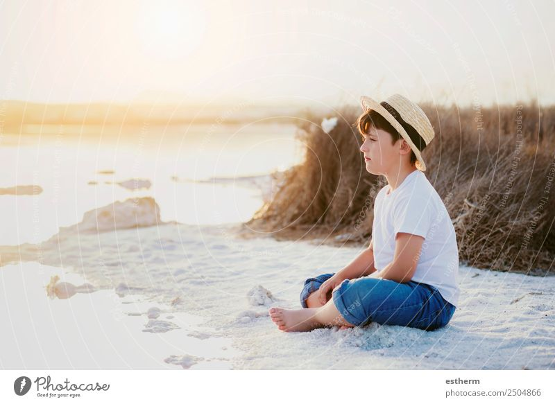 sad and pensive boy Child Human being Vacation & Travel Summer Sun Ocean Loneliness Beach Lifestyle Sadness Coast Boy (child) Freedom Masculine Dream Infancy