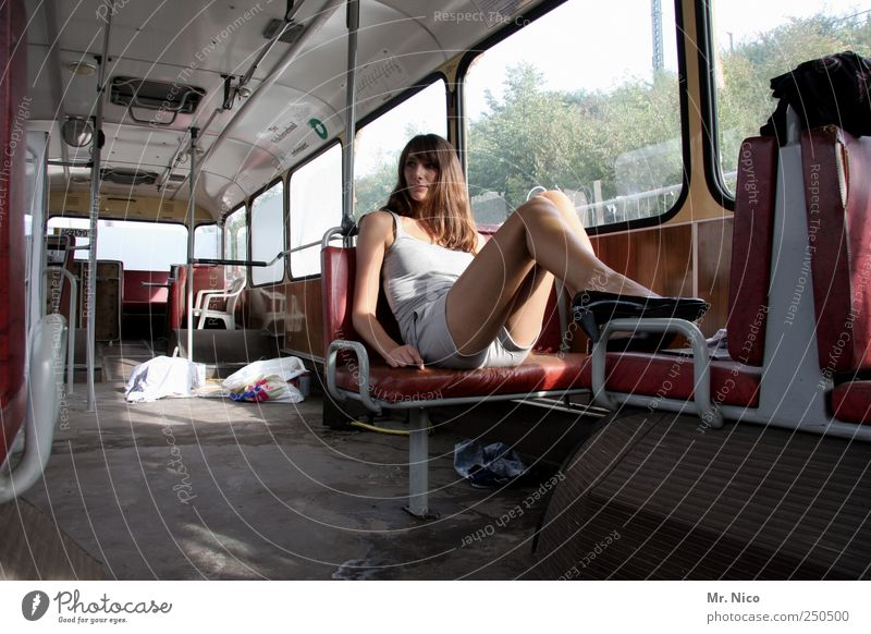 Woman Beautiful Loneliness Feminine Adults Legs Skin Sit Wait Lifestyle Cool (slang) Posture Observe Thin Bus Long-haired