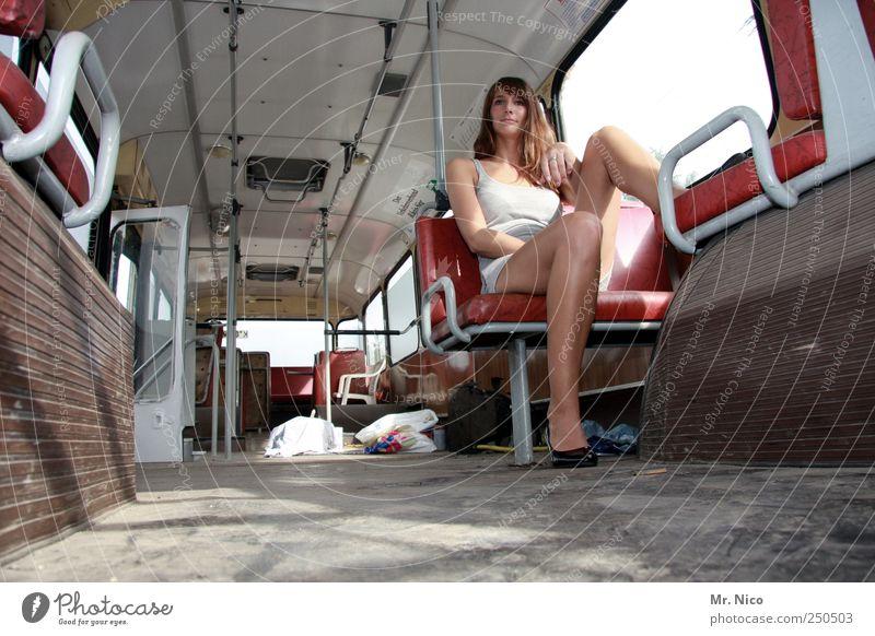 road movie part II Feminine Woman Adults Skin Legs Public transit Train travel Bus travel Commuter trains Train compartment High heels Long-haired Sit Wait