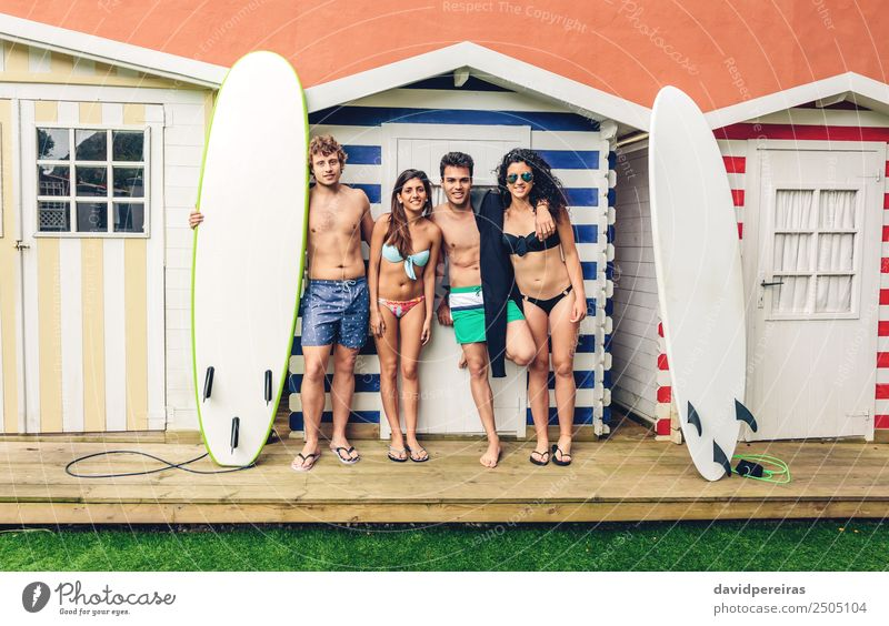 Group of people in swimsuit having fun outdoors Lifestyle Joy Happy Beautiful Relaxation Leisure and hobbies Vacation & Travel Summer Beach Ocean Garden Sports