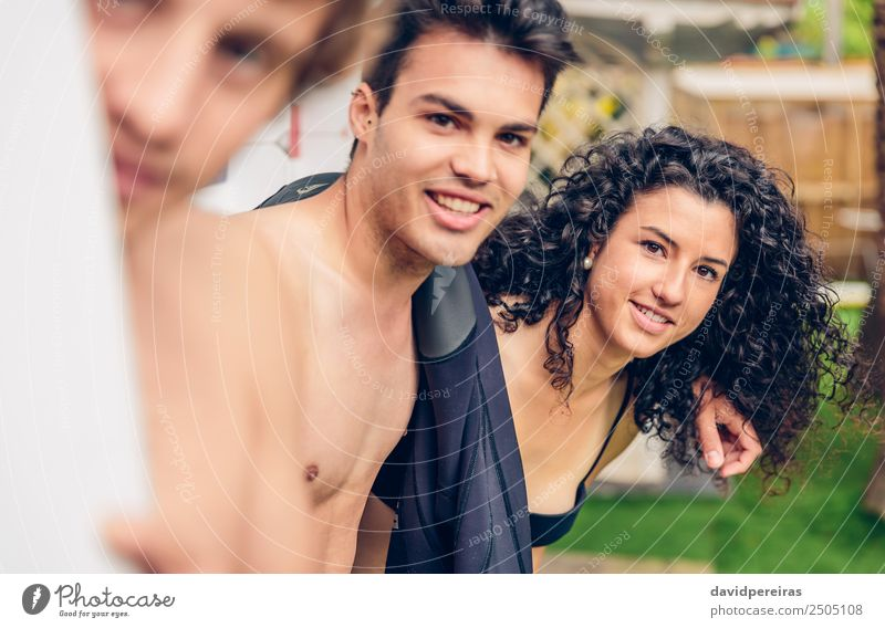 Group of people in swimsuit having funoutdoors Lifestyle Joy Happy Beautiful Relaxation Leisure and hobbies Vacation & Travel Camping Summer Ocean Garden Sports
