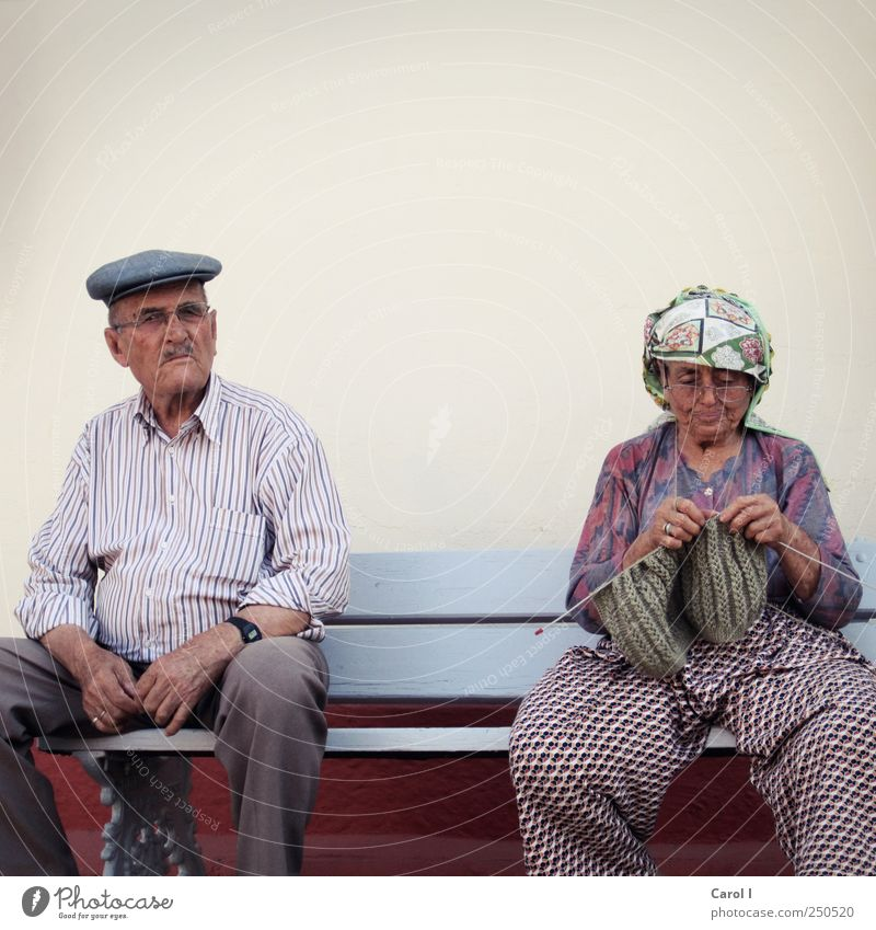 Human being Woman Man Old Calm Adults Senior citizen Couple Together Contentment Masculine Eyeglasses Retro Bench Hat Pants