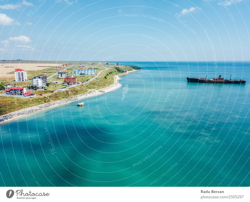 Aerial View Of Costinesti Beach Resort In Romania At The Black Sea Aircraft Vantage point Sand Background picture Water Above Ocean Vacation & Travel Blue