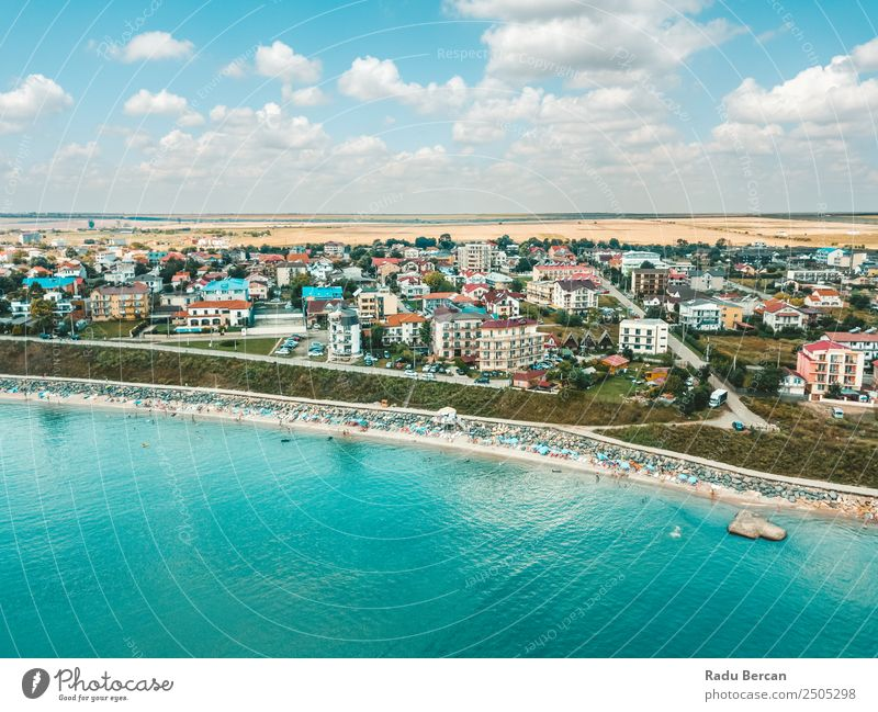 Aerial View Of Costinesti Beach Resort In Romania At The Black Sea Aircraft Vantage point Sand Background picture Water Above Ocean