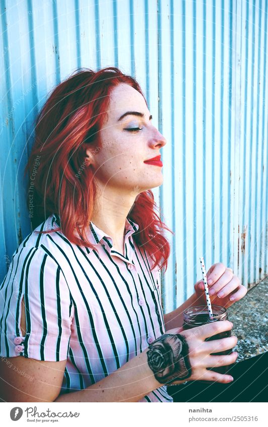 Beautiful redhead and tattooed woman Lifestyle Style Joy Wellness Well-being Senses Relaxation Leisure and hobbies Human being Feminine Young woman