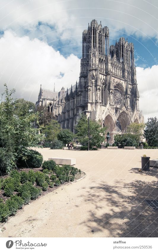 path Clouds Summer Beautiful weather Park Reims Champagne France Old town Church Dome Tourist Attraction Landmark notre dama de rims Religion and faith King