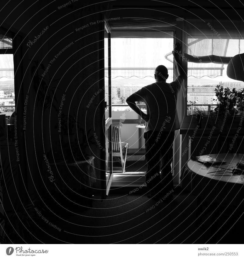 tristeza Human being Masculine Man Adults 1 Populated House (Residential Structure) Balcony Window Room Prefab construction Looking Stand Wait Dark Curiosity