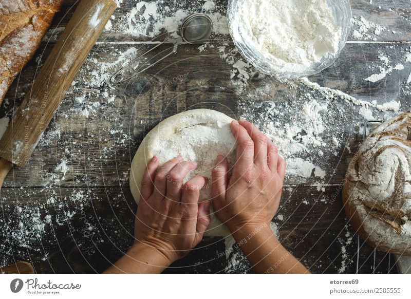 woman kneading artisan bread Food Healthy Eating Food photograph Bread Nutrition Breakfast Lunch Dinner Table Kitchen Feminine Woman Adults Hand 1 Human being
