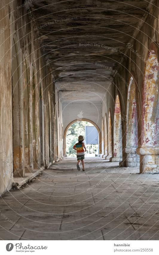 run Child Boy (child) Infancy 1 Human being 3 - 8 years House (Residential Structure) Ruin Manmade structures Building Walking Old Dirty Brown Gray Joy