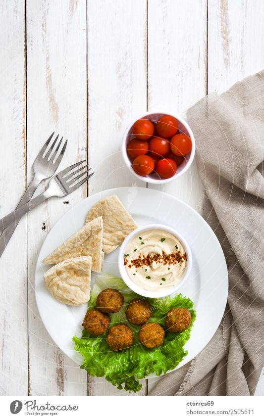 Falafel and vegetables on white wooden background. Top view Food Vegetable Lettuce Salad Vegetarian diet Asian Food Bowl Healthy Healthy Eating Sphere Fresh
