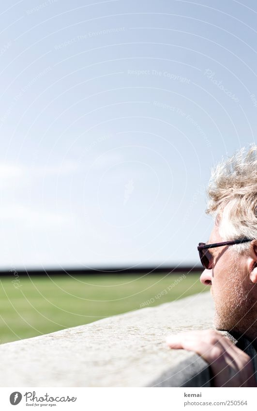 Looking over the wall Human being Masculine Man Adults Life Head Hair and hairstyles Fingers Cheek 1 45 - 60 years Landscape Sky Cloudless sky Beautiful weather
