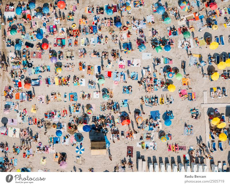Aerial Summer View Of Crowded Beach Full Of People Aircraft Vantage point Human being Above Vacation & Travel Ocean Background picture crowd Sand Water Blue