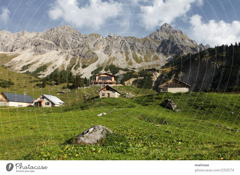 Sky Nature Blue Green White Clouds Relaxation Mountain Landscape Gray Movement Rock Hiking Alps Beautiful weather Alpine hut