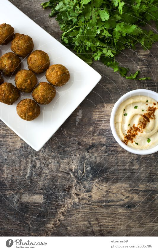 Falafel and vegetables on white wooden background Food Healthy Eating Food photograph Vegetable Grain Asian Food Bowl Fresh Brown falafel Chickpeas Tomato