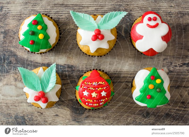 Christmas cupcakes Food Cake Dessert Candy Party Feasts & Celebrations Christmas & Advent Good Sweet Green Red Cupcake Muffin Baked goods Christmas tree Ball