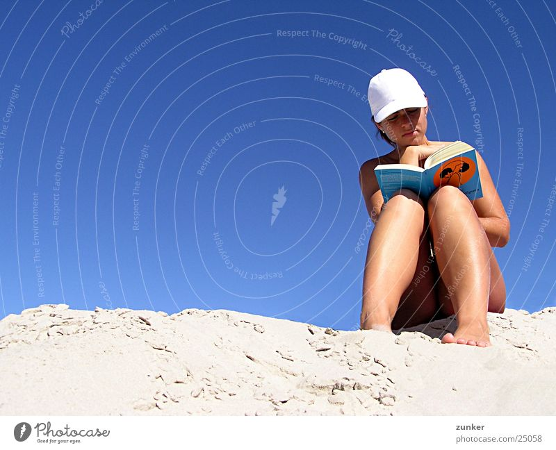 Guide to Innocence Woman Naked Reading Book Beach Baseball cap Sky Sand Skin Blue Peaked cap