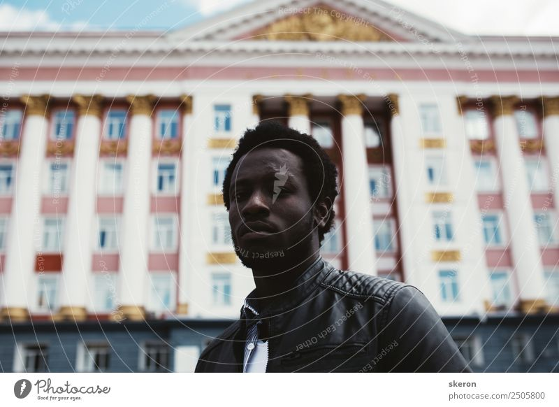 The African student on the background of Soviet architecture Lifestyle Elegant Style Human being Masculine Young man Youth (Young adults) Adults