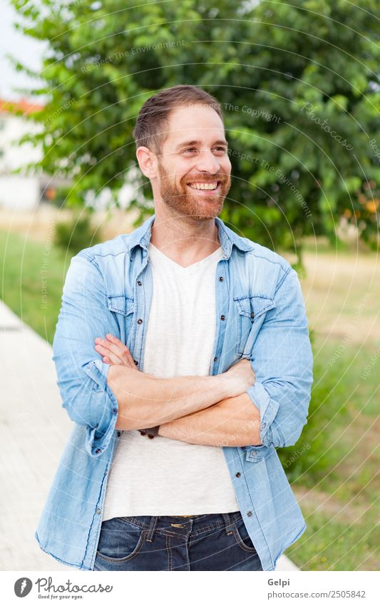 Casual guy Lifestyle Style Happy Hair and hairstyles Face Relaxation Summer Human being Masculine Boy (child) Man Adults Nature Park Fashion Shirt Beard