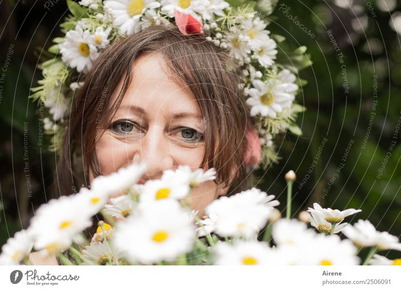 on a special day Human being Feminine Woman Adults Head Hair and hairstyles Face 1 45 - 60 years Summer Flower Blossom Bouquet Marguerite Flower wreath
