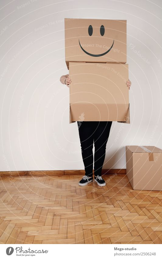 cardbord characters with smiley faces Happy Face Profession Business Human being Woman Adults Man Couple Pack Package Think Smiling Sit Stand Happiness Together