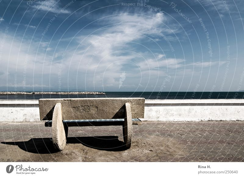 Sky Blue White Ocean Clouds Relaxation Wall (building) Wall (barrier) Coast Wait Bench Sidewalk Vantage point Beautiful weather Promenade Boundary