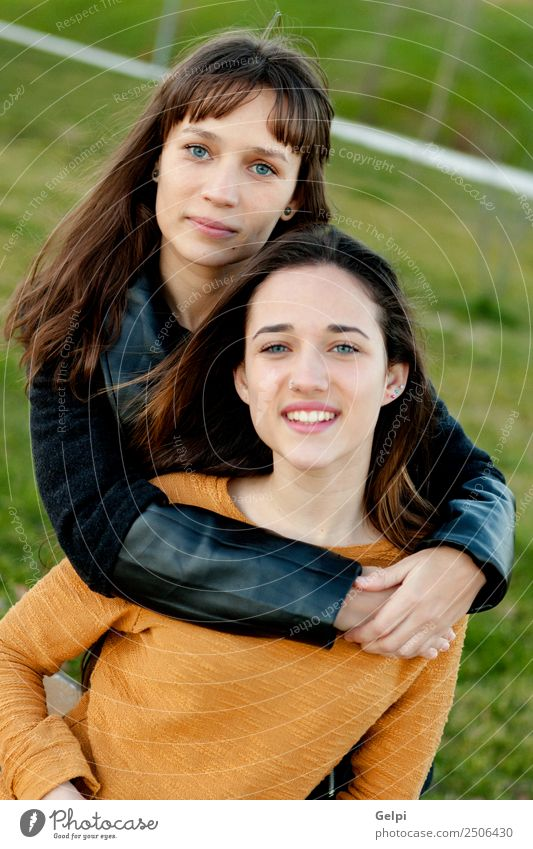 Outdoor portrait of two happy sisters Woman Human being Youth (Young adults) Beautiful Green White Joy Adults Lifestyle Love Funny Family & Relations Laughter