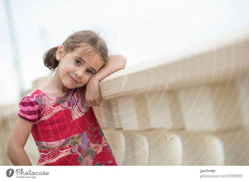 Adorable little girl combed with pigtails Lifestyle Joy Happy Beautiful Face Summer Child Human being Toddler Girl Woman Adults Infancy 1 3 - 8 years Nature