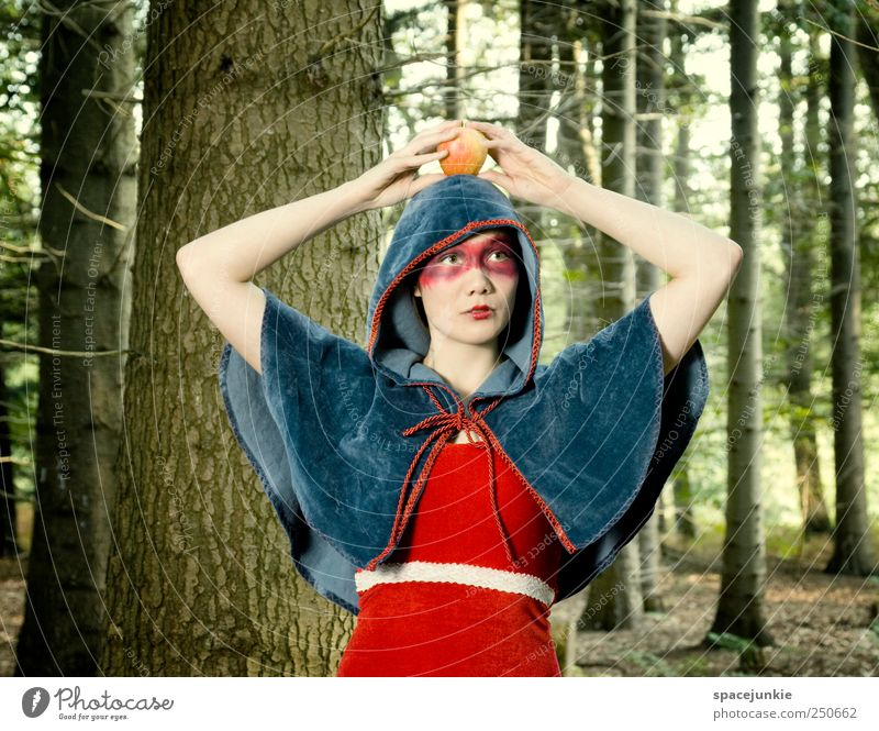 Human being Nature Youth (Young adults) Red Forest Feminine Death Landscape Emotions Adults Moody Threat Uniqueness Exceptional Apple