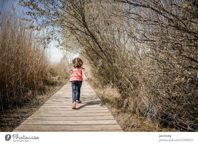 Little girl walking on a path of wooden boards in a wetland Lifestyle Joy Happy Beautiful Leisure and hobbies Summer Child Girl Infancy 1 Human being