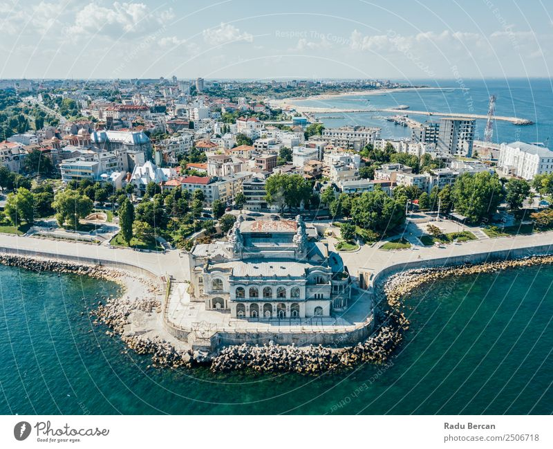 Aerial View Of Constanta City Skyline In Romania Nature Vacation & Travel Summer Blue Town Colour Water Landscape House (Residential Structure) Far-off places