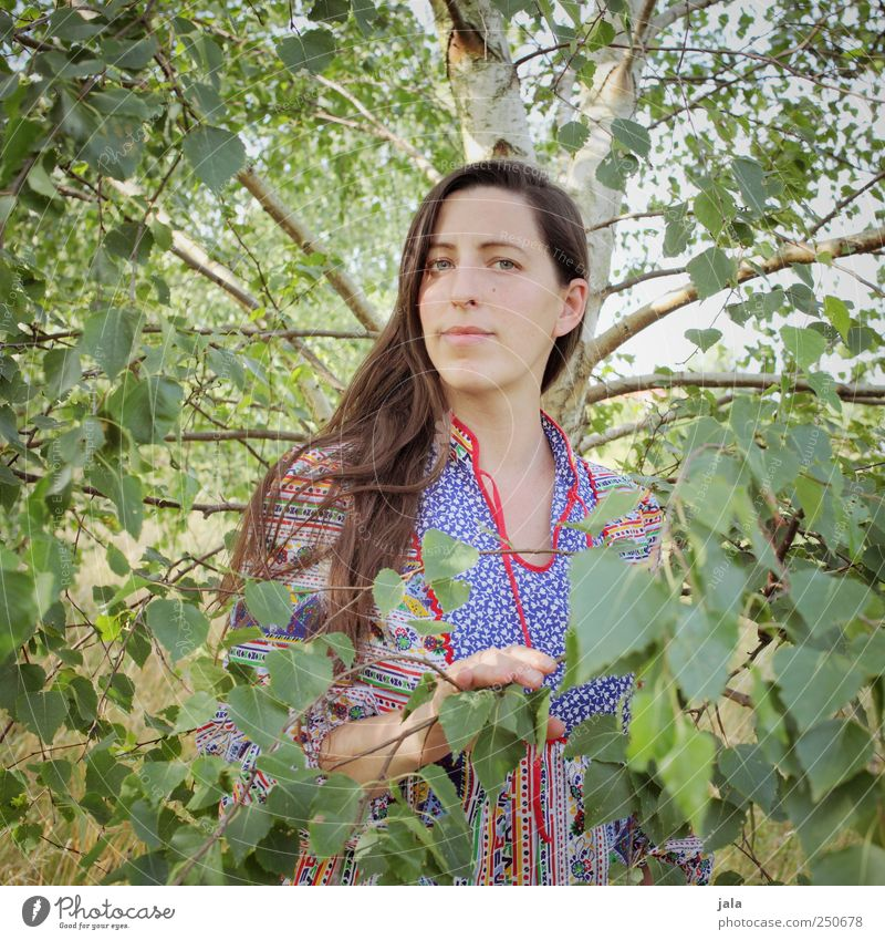 . Human being Feminine Woman Adults Face 1 30 - 45 years Environment Nature Sky Plant Tree Birch tree Looking Stand Natural Colour photo Exterior shot Day