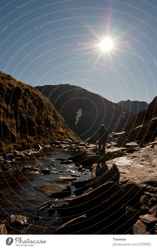 (Don't) Look Back Into The Sun Vacation & Travel Summer Mountain Hiking Human being Man Adults Nature Landscape Plant Animal Water Beautiful weather Rock Alps