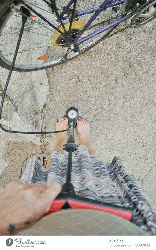 pump my bicycle (2) Wheel Bicycle Cycling Hose Air Air pump Hand Fingers Legs Feet feminine Barefoot Pressure Display Air pressure Measure Spokes Woman