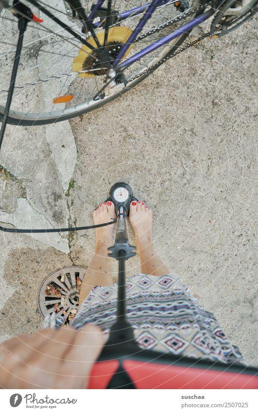 pump my bicycle (1) Wheel Bicycle Hose Air Air pump Hand Fingers Legs feet feminine Barefoot Pressure Display Air pressure