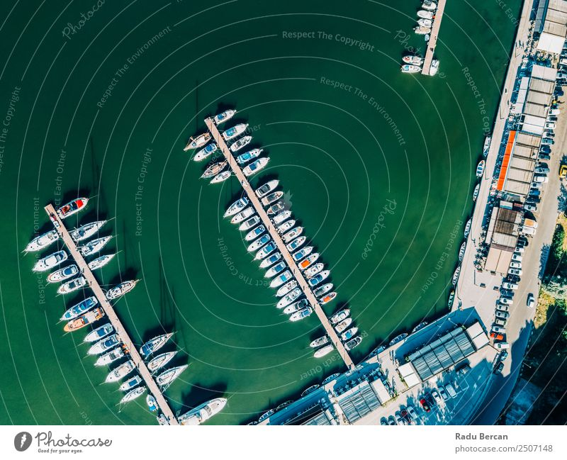 Aerial View Of Luxury Yachts And Boats In Port At The Black Sea Nature Vacation & Travel Summer Blue Town Colour Water Green White Ocean Environment Coast