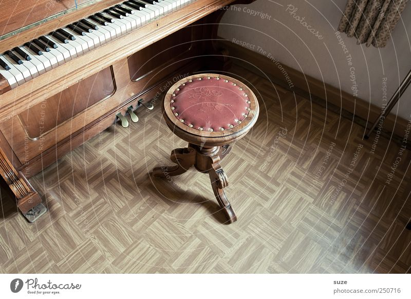 piano lesson Leisure and hobbies Living or residing Flat (apartment) Music Piano Wood Old Brown Break Stool Linoleum Floor covering Keyboard Sound Piano stool