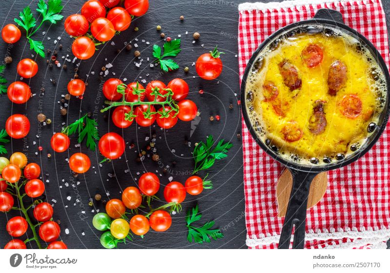fried omelette with sausages Sausage Vegetable Herbs and spices Breakfast Lunch Dinner Pan Table Fresh Above Yellow Green Red Tradition Omelette Scrambled eggs