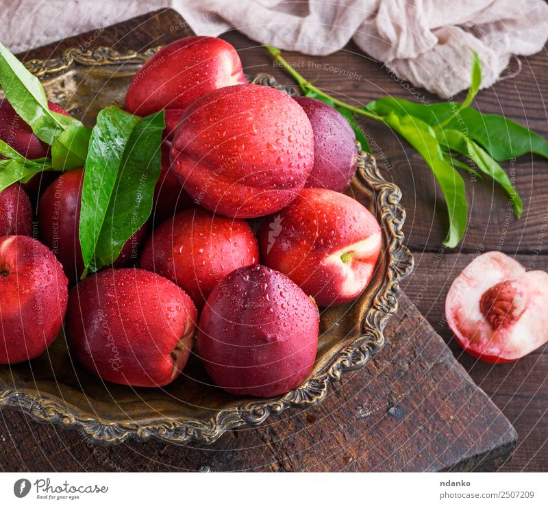 red ripe peaches nectarine Fruit Dessert Nutrition Summer Table Wood Eating Fresh Juicy Brown Red Nectarine background food healthy sweet Raw Mature Peach whole