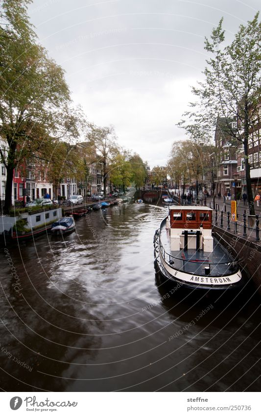 Water Tree House (Residential Structure) Esthetic River Navigation Downtown Capital city Netherlands Old town Amsterdam Channel Fishing boat Boating trip Gracht