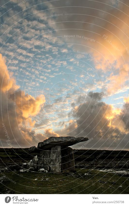 Poulnabrone Dolmen Nature Earth Sky Clouds Beautiful weather Rock Ireland Ruin Monument Tomb dolmen Old Historic Stone Colour photo Exterior shot Deserted